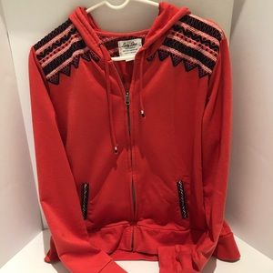 Lucky Brand zip up hoodie coral size XL